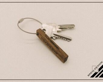 Schlüsselanhänger Personalisiert  Nussbaum Holz Geschenk Muttertag Vatertag Weihnachten Geburtstag Valentinstag