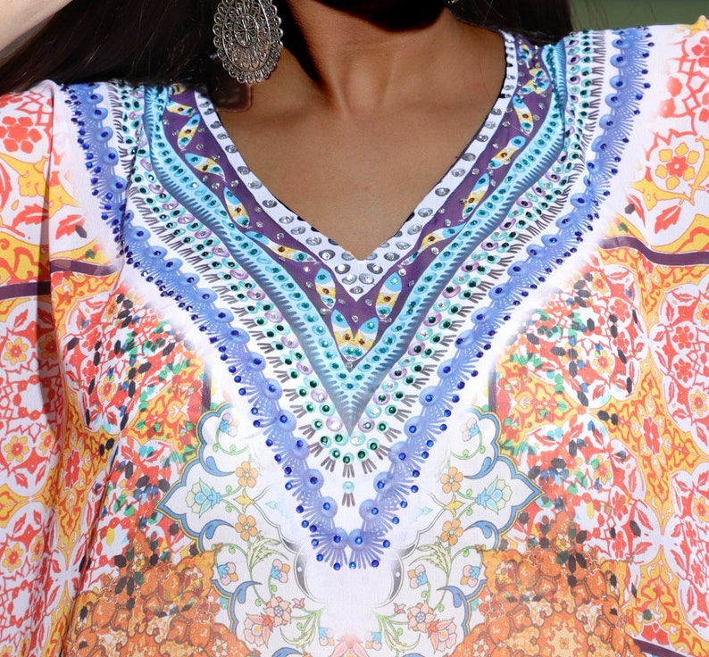 Resort wear kaftan dress for women one piece jeweled long kaftan maxi dress