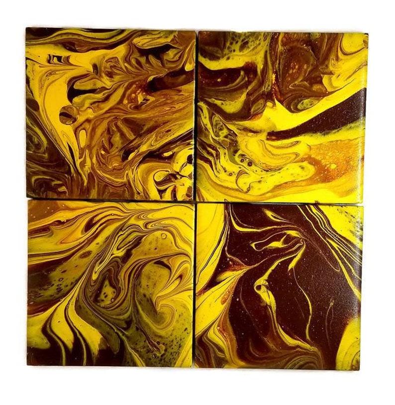 hand painted ceramic tile coasters / acrylic pour paint method decorative  coasters set / fluid art coaster tiles