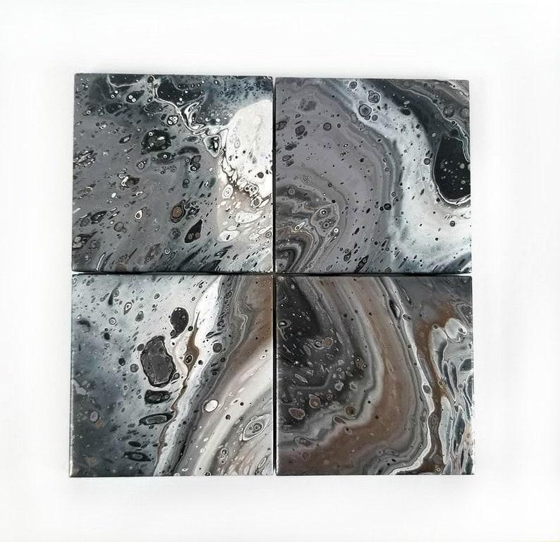 ceramic tile coasters painted, acrylic poured paint coaster tiles,  decorative coasters, fluid art coaster tiles