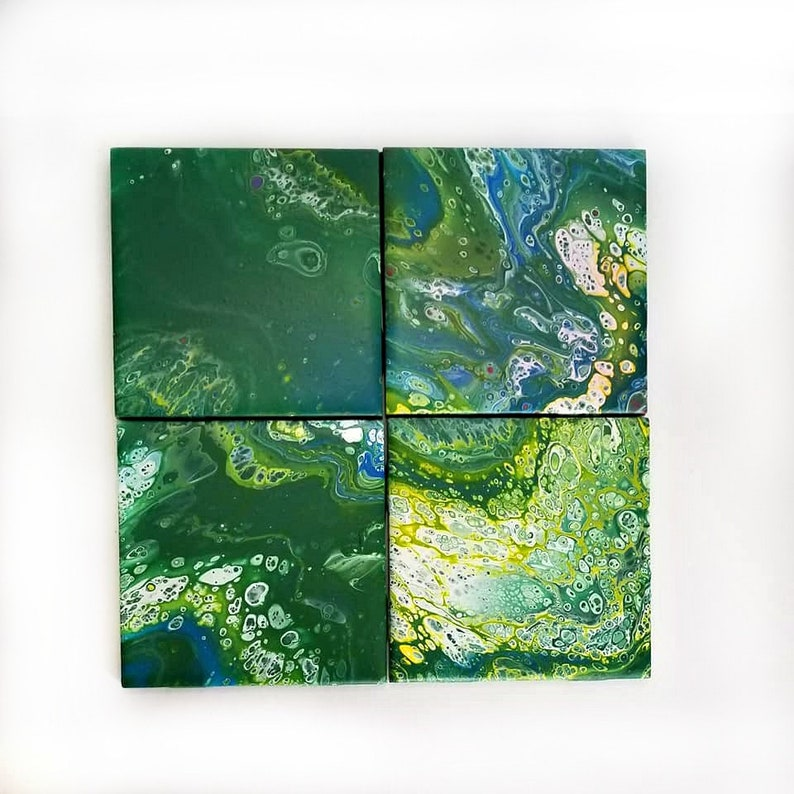 acrylic pour coaster set of 4, hand painted ceramic tile coaster epoxy  resin coated, decorative coaster kitchen accessories
