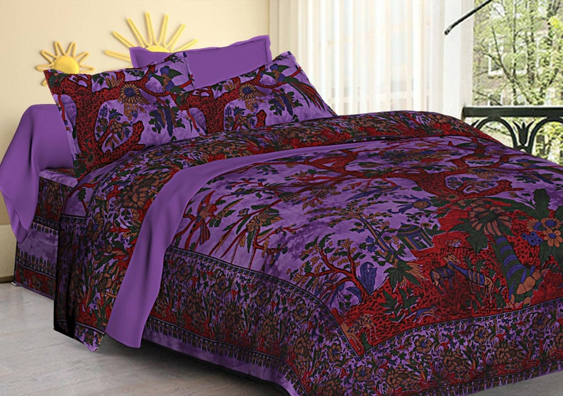 Purple Mandala Hippie Bed Sheet Bohemian Indian boho Tapestry with pillow covers