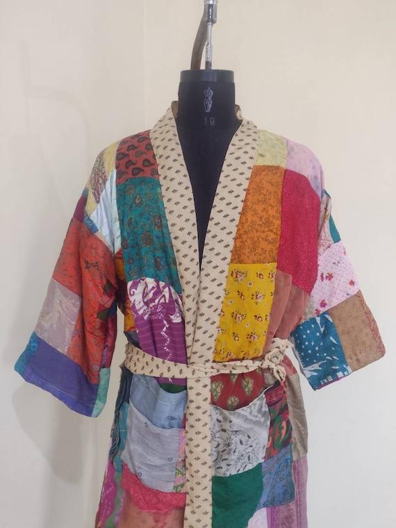 Vintage Silk Saree Kimono Robe For Women Bridesmaid Robes Japanese Robes Kimono Cardigan Beach Wear Robe Saree Kimono Night Costume At-54