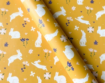 Spring Birthday Wrapping Paper Easter Gift Wrap Cottagecore Gift Wrap Bunny Wrapping Paper Floral Pattern Paper Spring Rabbit Gift Wrap