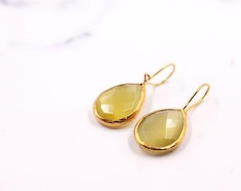 Gemstone Jewelry Gold Plated Birthstone Handmade Labradorite Arrow Drop Stud Earrings