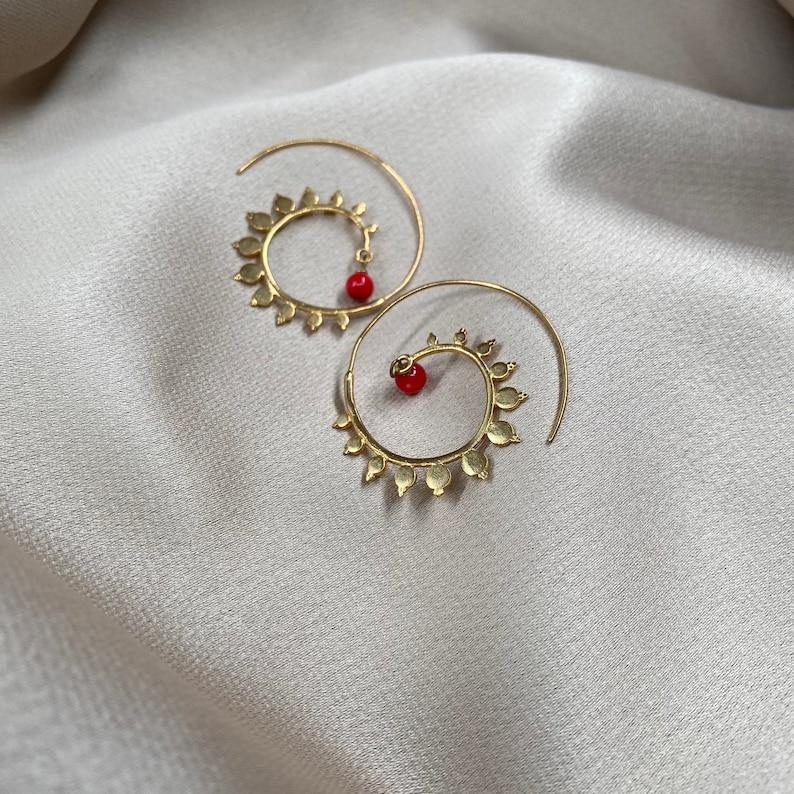 Oriental Handmade Ethnic Beaded Spiral Earrings Hoops Gemstone Jewelry Gold Plated