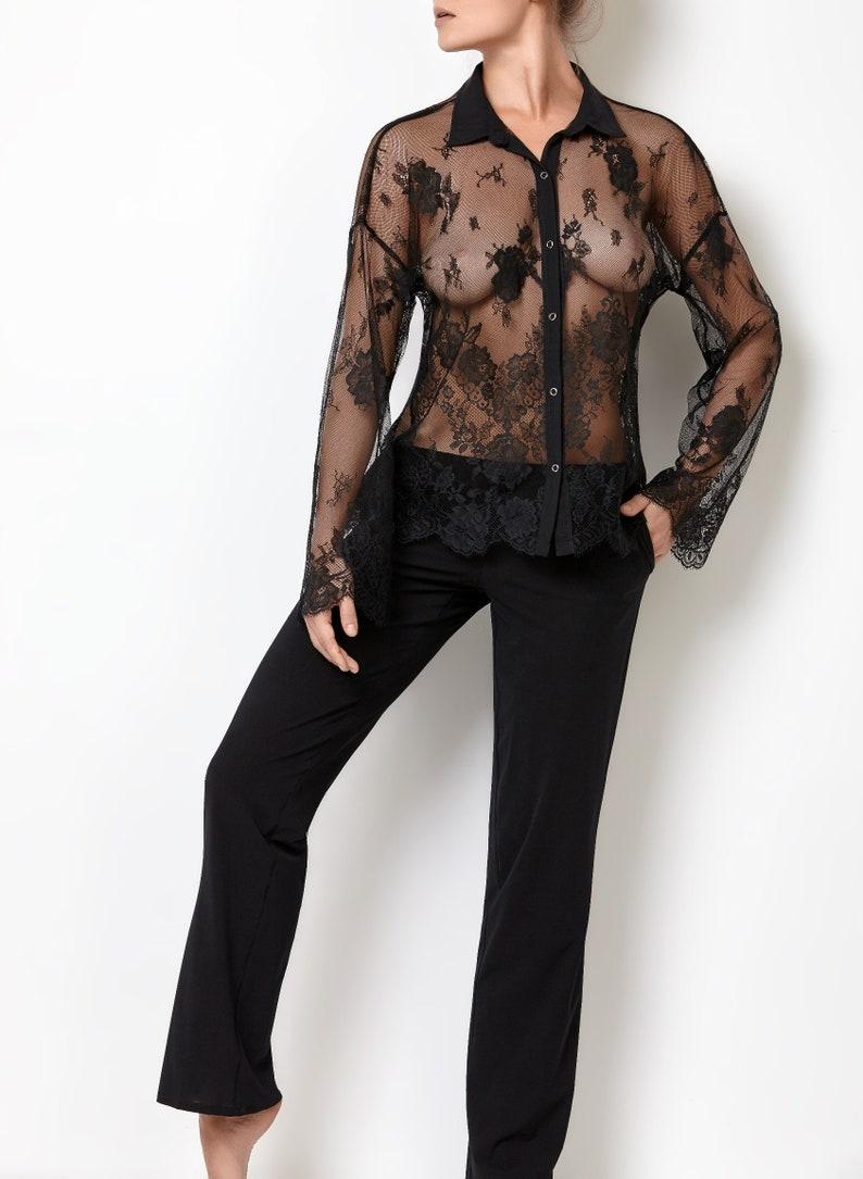 Organic Cotton Lace Top Sheer Lingerie Plus Size Sleepwear Honeymoon Lingerie Plus Size Top Lace Lingerie  Bridal Lingerie