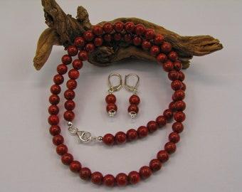 Foam coral necklace & earrings
