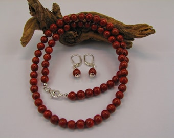 Foam coral necklace and earrings
