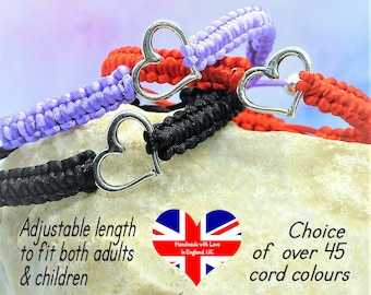 Handwoven Hand knotted Cord Tree of Life Macrame Bracelet Silver Tree Adjustable Macrame Connector Charm Bracelet Choice of 45 colours