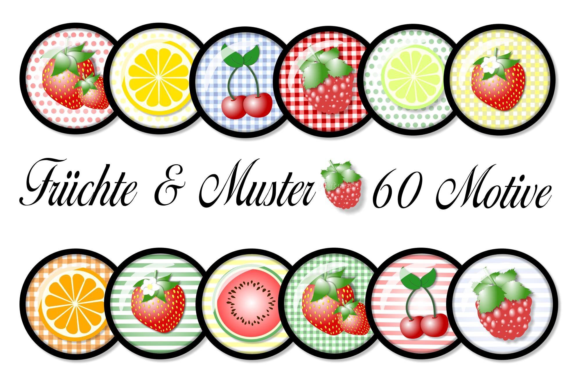 Cabochon-Vorlagen digital Früchte & Muster 60 süße Motive   Etsy