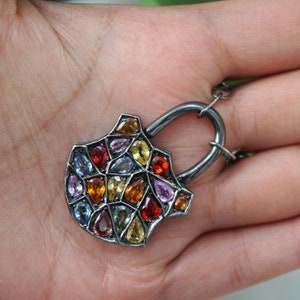 Real Natural Multi Sapphire Gemstone Pave Diamond Designer Leaf Padlock Pendant 925 Sterling Silver Necklace Jewelry Valentine Gift For Her
