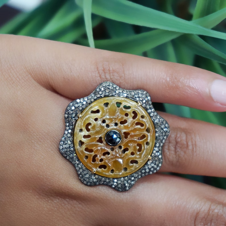 14k Yellow Gold Black Spinel Jade Carving Cocktail Ring 925 Sterling Silver Pave Diamond Gemstone Handmade Jewelry Christmas Gift