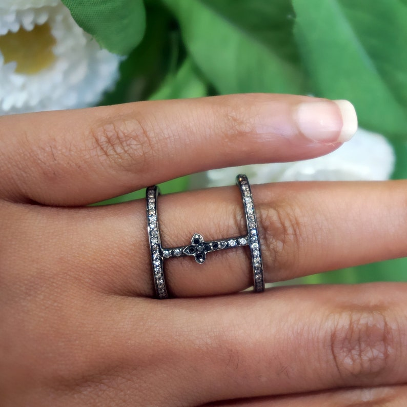 Handmade Genuine Pave Black Diamond Double Band Ring Solid 925 Sterling Silver Cross Ring Fashion Jewelry Christmas GIFTS