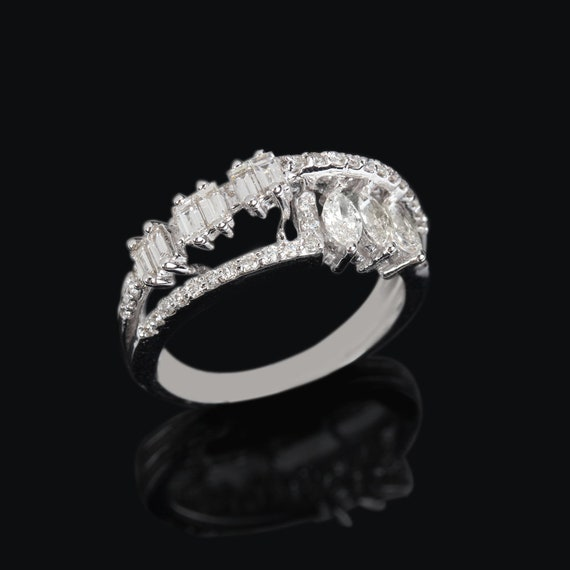 Real 1.07 Ct. SI Clarity G-H Color Diamond Pave Statement Ring Solid 18K White Gold Fine Jewelry Valentine Gift, Wedding Ring, Proposal Ring