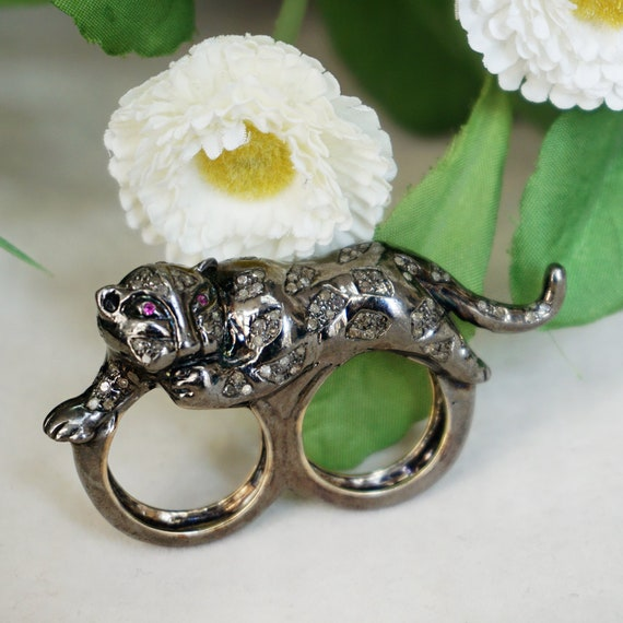 Genuine Pave Diamond Ruby Double Finger Leopard Ring 14k Gold Silver 925 Tiger Animal Handmade Jewelry Gifts