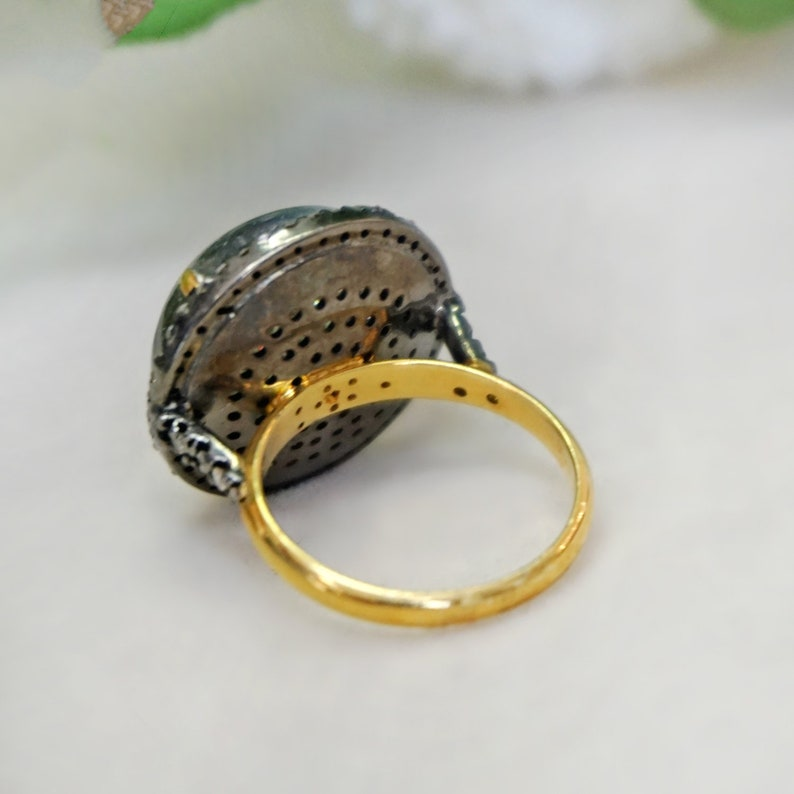 14k Yellow Gold Studded Pave Diamond Crystal Ring 925 Sterling Silver Gemstone Wedding Jewelry Christmas Gift