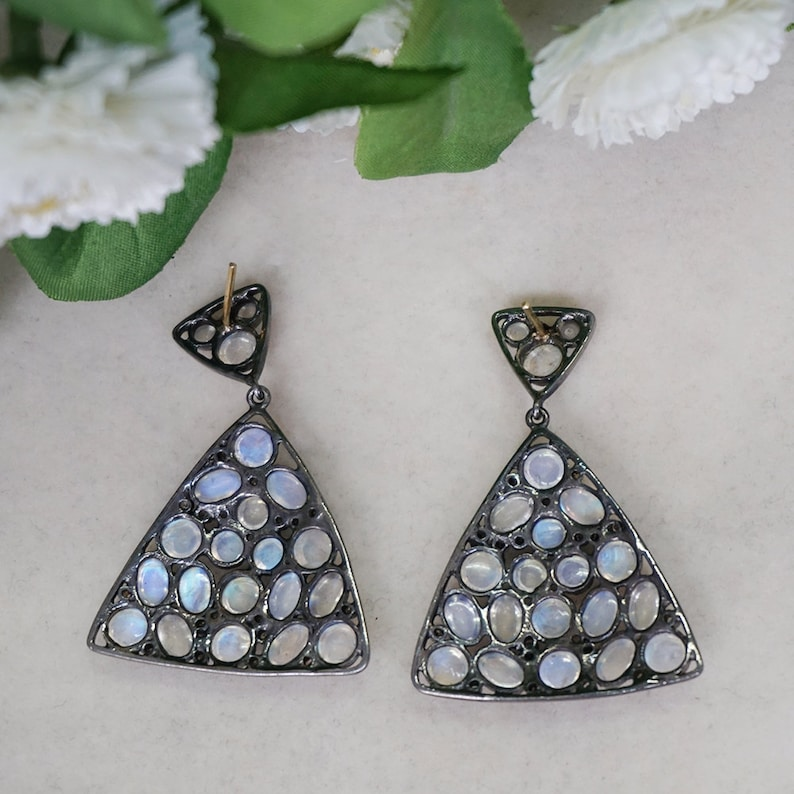 Handmade Natural 20.06 Ct Rainbow Moonstone Triangle Dangle Earrings 14k Yellow Gold 925 Sterling Silver Gemstone Valentine Jewelry Gifts