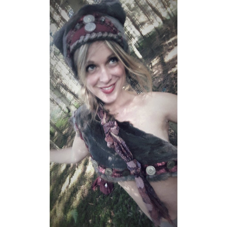 Hat and stole Out of the mouse boho gypsy gypsy crocheted fur for vintage elf headpiece fairytale