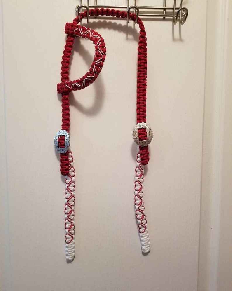 Red and white headstall with heart accents