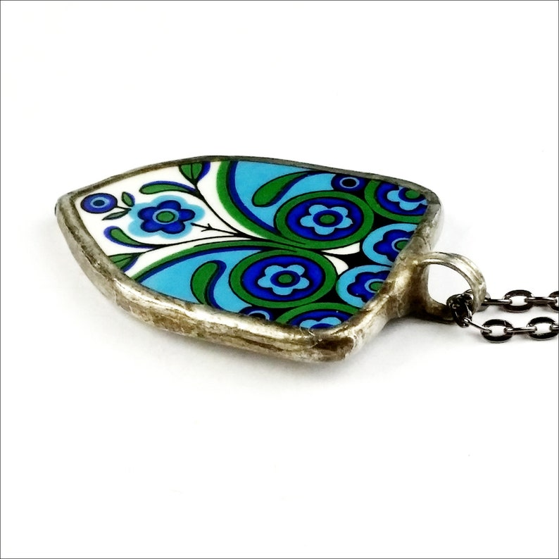 floral broken china necklace boho bohemian pendant meakin blue geometric retro china pottery shard gift for girlfriend for her