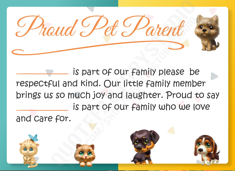 Proud Pet Parent Kids Quotes Children Sign Quote Prints