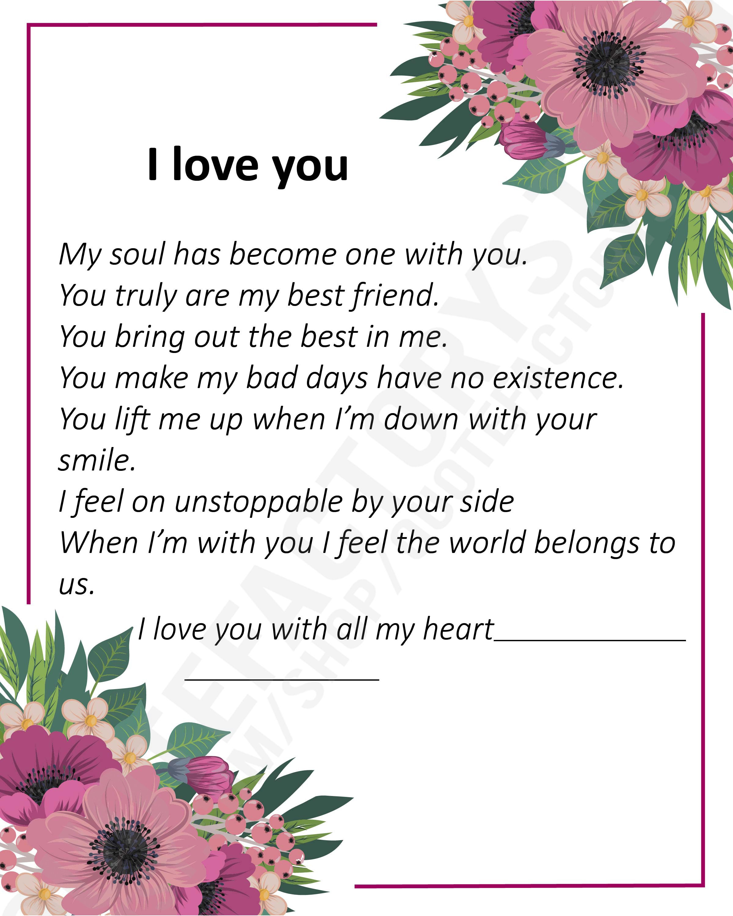 I Love You Letter Soulmate Love Wall Art Romantic Quote Poem