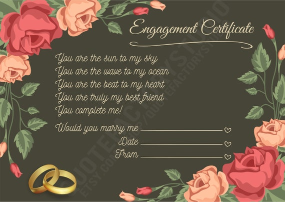 Engagement Certificate Love Wall Art Romantic Quote Poem Romantic Quotes Prints Download Marriage For Couples