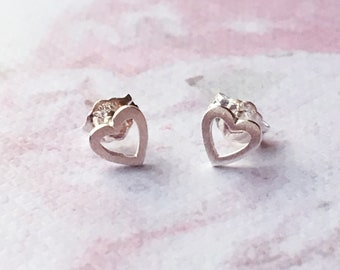 19a18d209 Petite Brushed Silver Heart Outline Earrings, 925 silver stud earrings,  valentine's jewelry, cute heart earrings