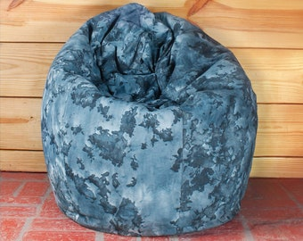 Marine Chaos Dual Tone Tie And Dye Cotton Canvas Bean Bag Chair Cover XXL  Size Adult Bean Bag Children Bean Bag Kids Bean Bag