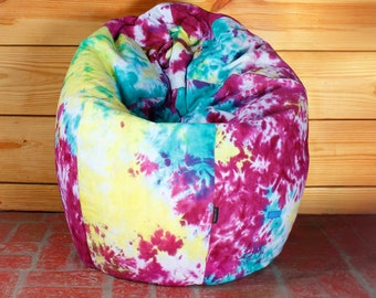 Rasta Colorful Tie And Dye Cotton Canvas Bean Bag Chair Cover XXL Size  Adult Bean Bag Children Bean Bag Kids Bean Bag