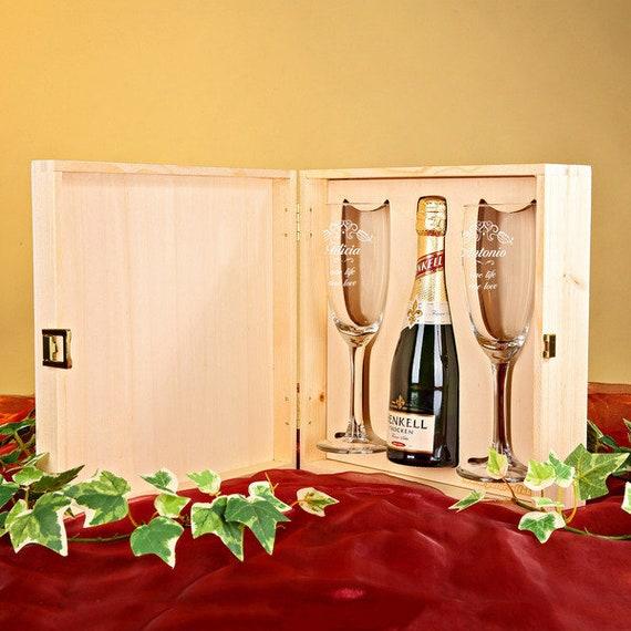 4 PCS Sparkling Wine Engraving Heart Ring Wedding Gift Set incl