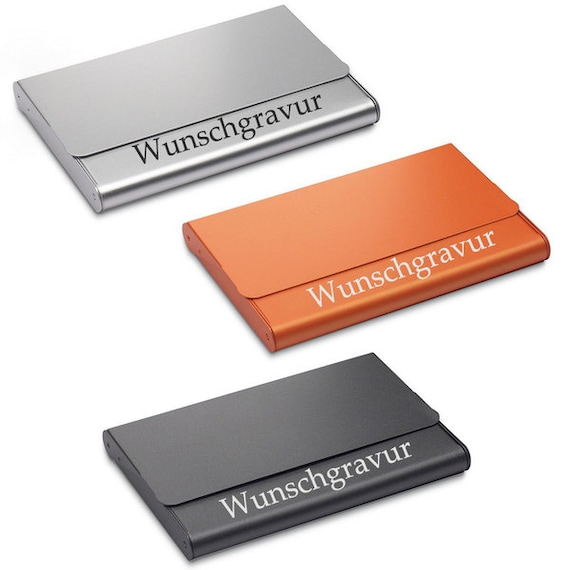 Visitenkartenetui Aluminium In Schwarz Orange S
