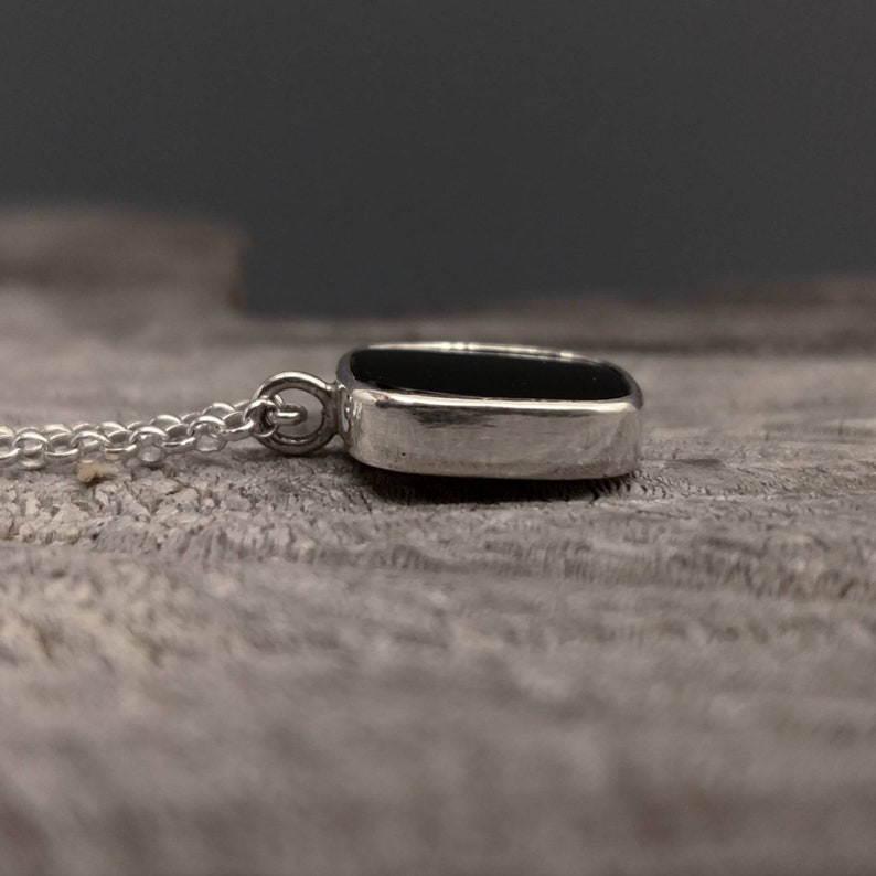 Unique Handmade Silver Necklace with Onyx MD255