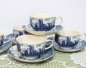 Johnson Bros Castle Story, blue Cup Saucer