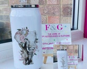 Personalised Floral Elephant Can Style Tumbler, Cola Can, Insulated Tumbler, Gift for Her
