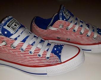 29f2dcb3fb04 Vintage USA Flag Converse Converse All Stars Vintage Converse Shoes Vintage  Rare 90S Converse Converse Shoes Usa Flag Converse Size UK 5