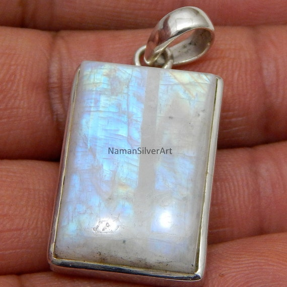 Beautiful Rectangle Rainbow Blue Moonstone Pendant in Sterling Silver