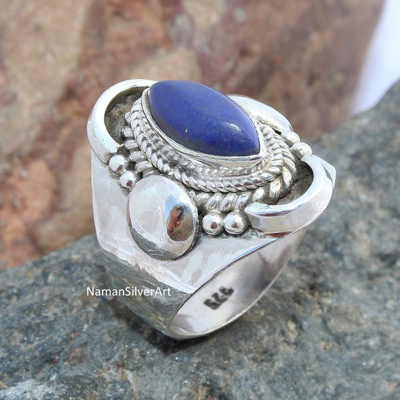 Lapis Lazuli boho jewelry ring 925-Sterling Solid Silver Ring,Handicraft Boho Ring,Antique Silver Ring,Thumb Ring-Etsy Cyber Valentine/'s Day