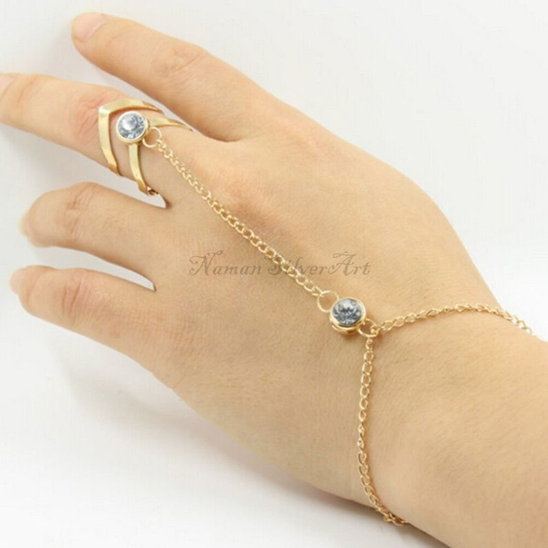 Minimalist Bohemian Bracelet Jewelry Gift For Mom and Sister Blue Topaz Bracelet Ring 16 k Gold Polish on Pure 925 Solid Sterling Silver