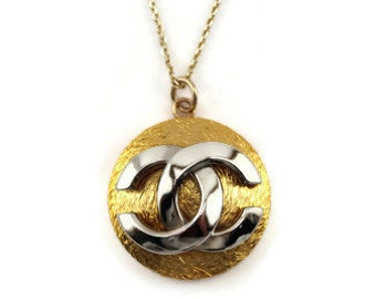 Chanel look gold silver button up-cycled necklace 3082d6ad46
