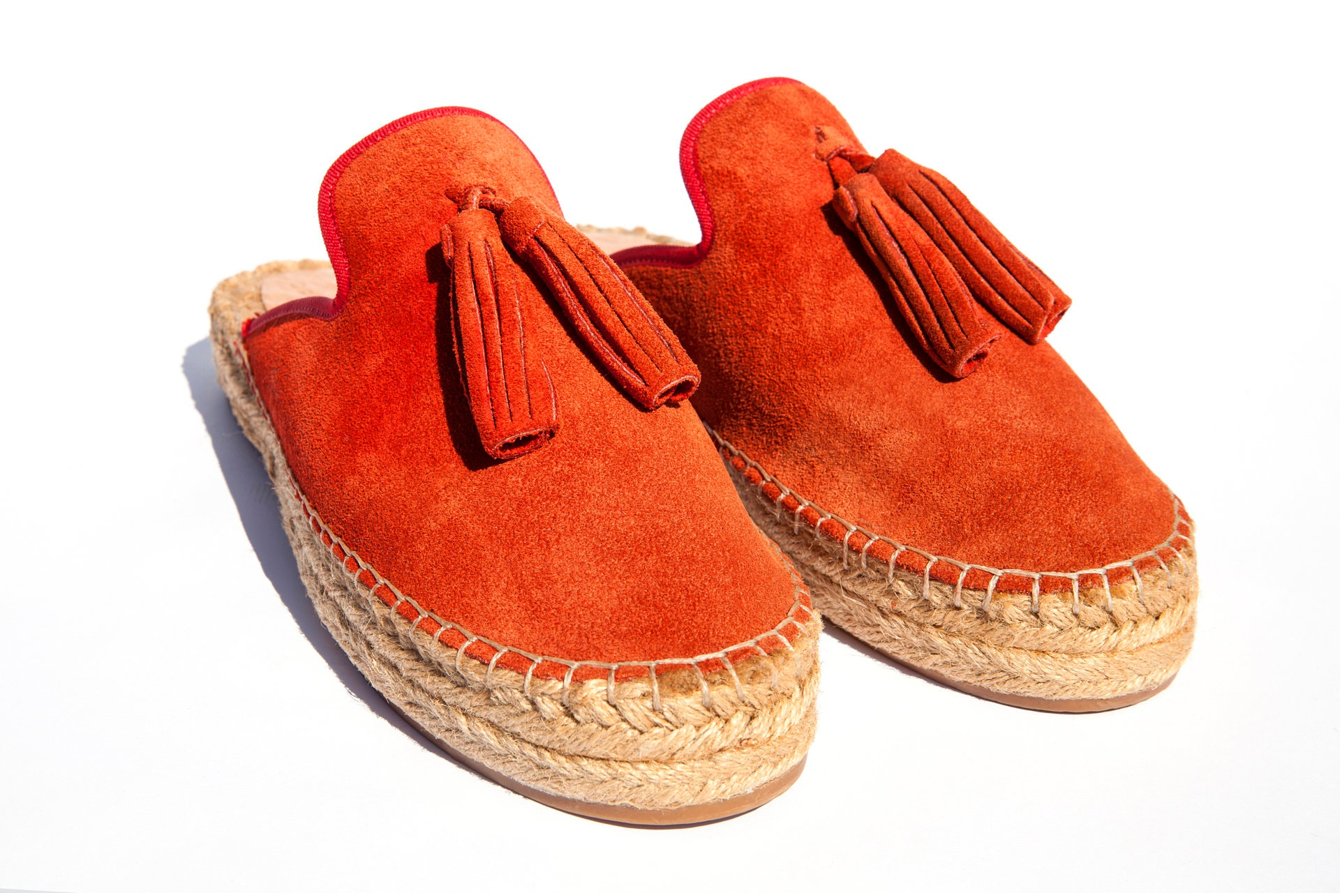 Red suede leather espadrille women slipper, sandals, summer sandals, women espadrille shoes, espadrille soles, authentic leather, comfortable a5fc33