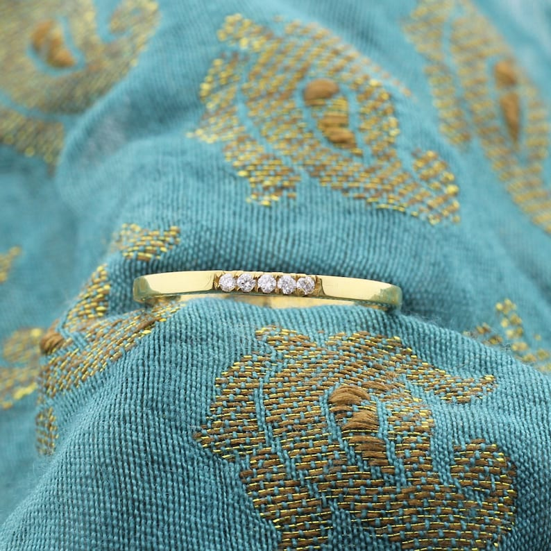 best for stackable ring 1 mm Gold Ring Five Diamonds Wedding Band for Women 14k Gold Real Natural Diamond Wedding Anniversary Ladies Band