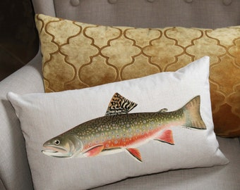 Lake House Pillow Cover Fish Pillow Walleye Fish Pillow Cover Fish Nursery Gold Tan. Fishing Fisherman Walleye Lake Pillow Cover
