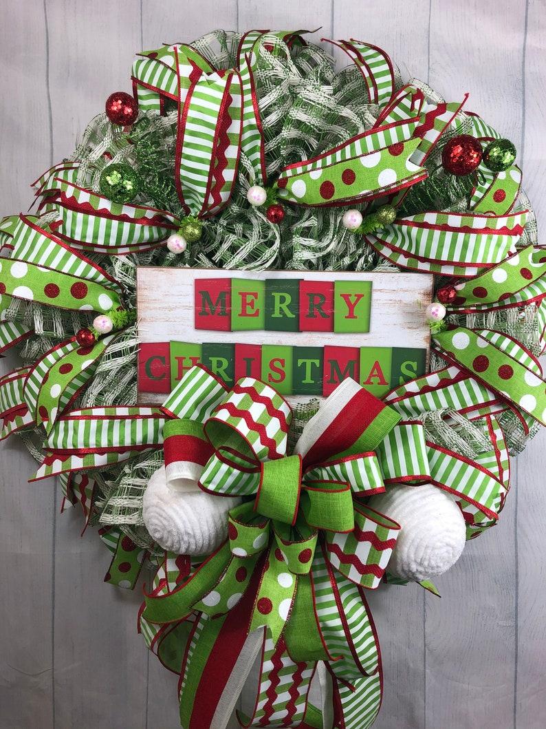 Whimsical Christmas wreath Merry Christmas front door wreath Merry Christmas decor Christmas front door decor