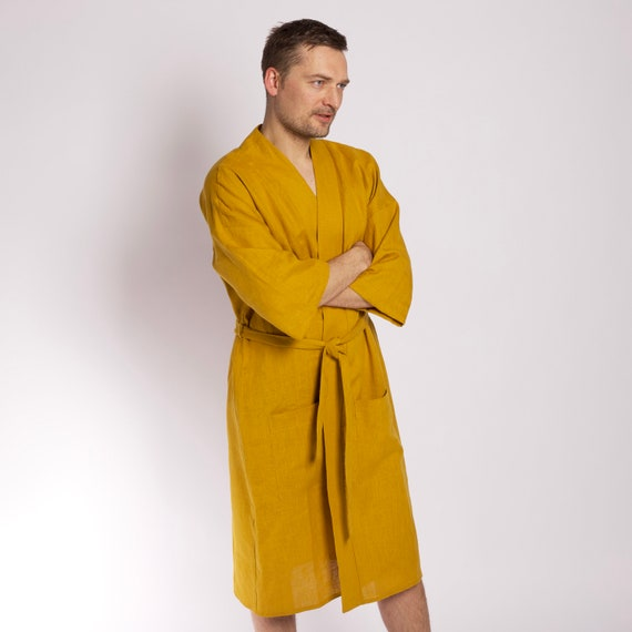 Discover detailing outlet on sale Mens linen robe Mustard linen kimono robe for him Mens robe with pockets  Linen bathrobe Soft linen kaftan Orange linen dressing gown for men