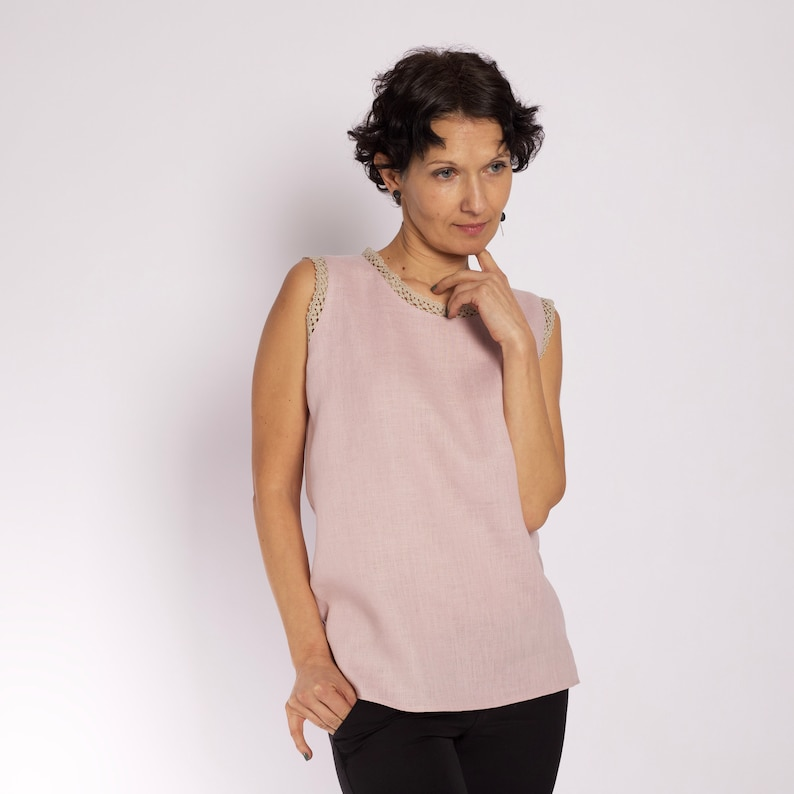 0c53d1ec7addd9 Sleeveless top Dusty pink blouse for women Linen tank top