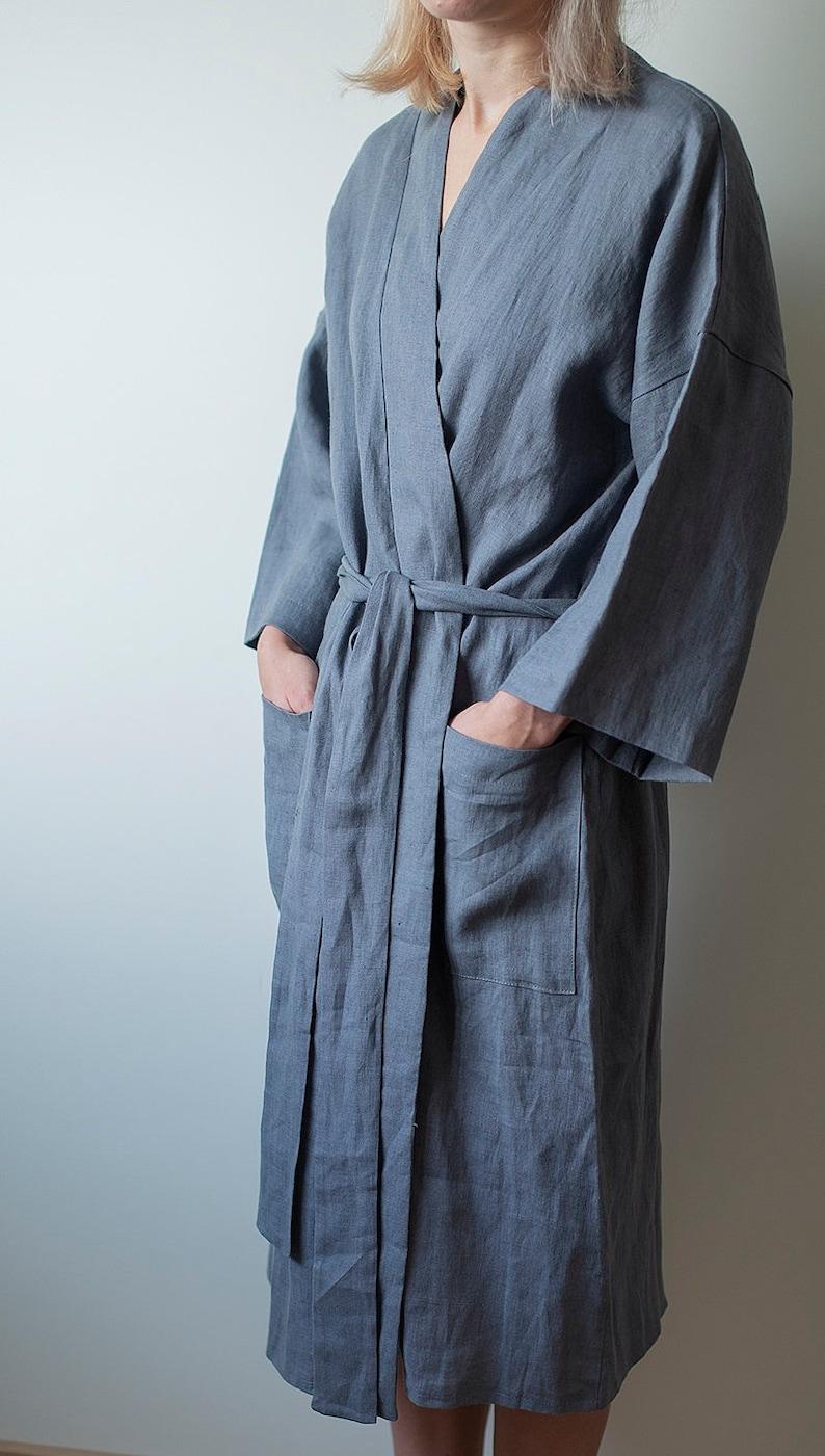 Linen bathrobe kimono robe Women grey linen dressing gown  2ee76006c