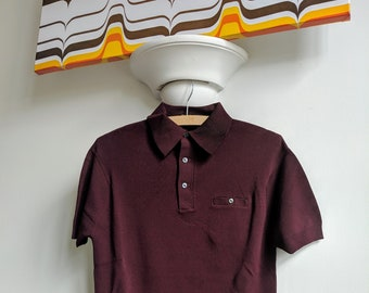 a798f663 Vintage 1960s Sears Mod Short Sleeve Knitted Polo Shirt Small