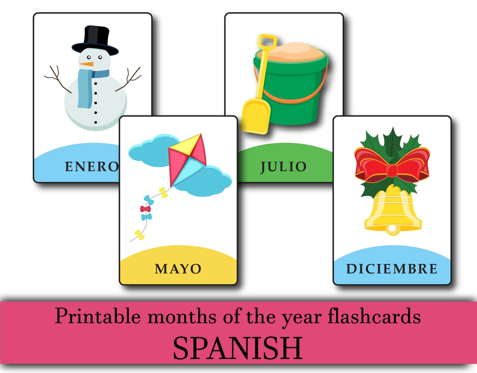 photograph regarding Printable Months of the Year named SPANISH printable weeks of the yr flashcards, SPANISH discovering playing cards, youngsters instruction playing cards, printable flashcards, weeks in just SPANISH